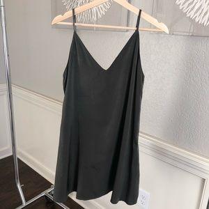 Green slip dress
